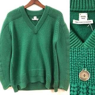 hermes green cashmere knitted sweater size 34