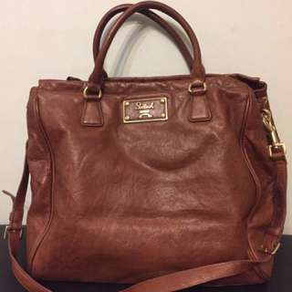 Salad Brown Leather Bag