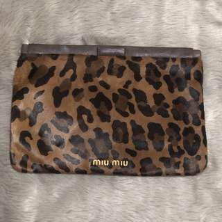 MIU MIU Leopard Print Calf Leather Clutch