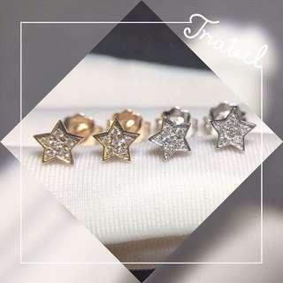 星星18k白金玫瑰金鑽石耳釘🌟可愛星星全新情人節生日禮物推薦