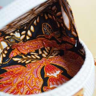 PREMIUM Batik Lining Rattan Bag: Fire