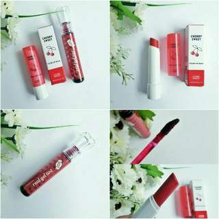 ETUDE HOUSE Cherry Sweet Color Lip Balm + THE SAEM Candy Real Gel Tint