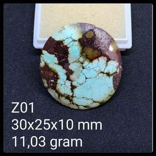 Batu Pirus Persia Z01 Natural Pyrus Turquoise Akik