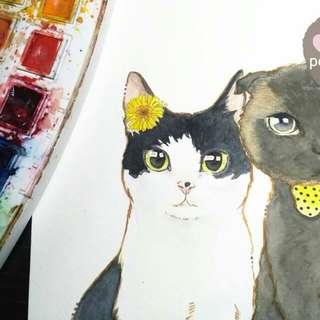 訂造寵物旅行箱保護套+連一幅水彩畫#訂製 #自家製 #手繪 #畫 #行李套 #寵物 #貓 #狗 #兒童