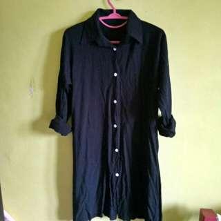 Baju kemeja hitam tunik