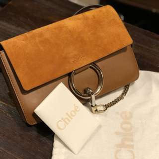 Chloe Faye Small Suede Shoulder bag (brown)