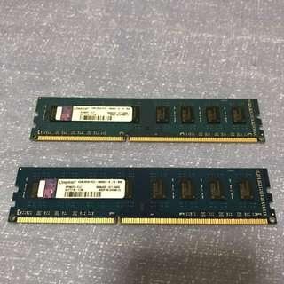 KINGSTON DDR3 RAM 4GB 1333MHZ PC10600 (2pcs)