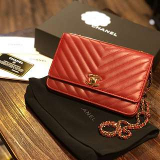 Channel (WOC) Red Quilted lambskin Trendy CC
