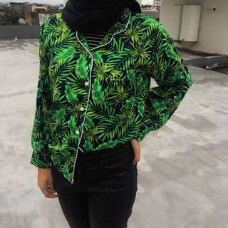 Tropical Shirt Navy Green Kemeja Summer