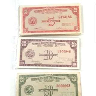 Old bills magsaysay and marcos era lumang pera collectible