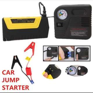 12V Portable Mini Jump Starter Car Jumper with Pump 2USB Booster Power Battery Charger Mobile Phone Laptop