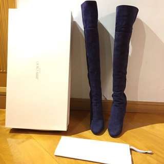 Jimmy Choo over the knee suede navy boots