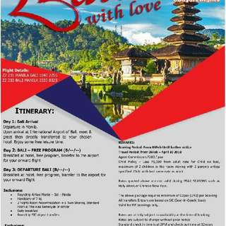 BALI,INDONESIA PACKAGE TOUR (min. of 2 pax)