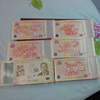 Singapore Sg50 Notes Set In Folder Commemorative Notes