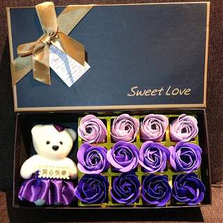 Valentines day soap rose flower with teddy bear