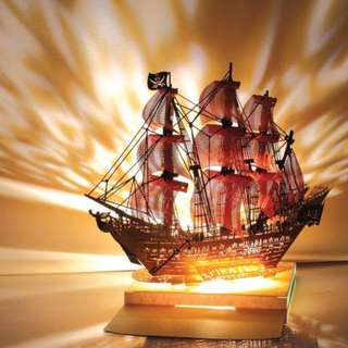 DIY miniature paper model with lights - Pirate Ship Colour Light Model