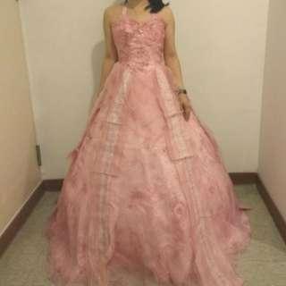 (代售/含運)粉色玫瑰蕾絲 禮服/新娘服