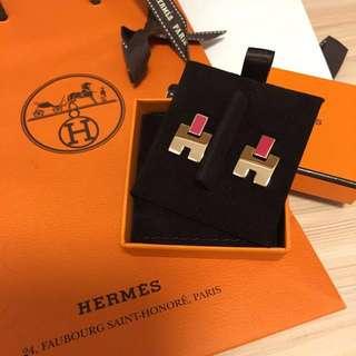 Hermes rosegold eileen earrings (rose framboise)