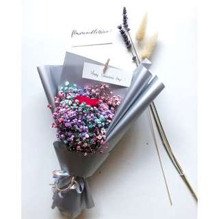 [Collect 14 feb] Red rose and mixed coloured pink, blue and purple Baby's Breath Bouquet in brown kraft paper