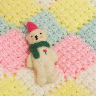 手作羊毛小白熊polar bear扣針brooch