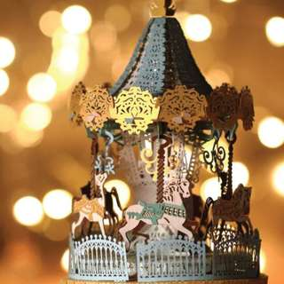 DIY miniature paper model with lights - Merry Go Round Blue Light Model