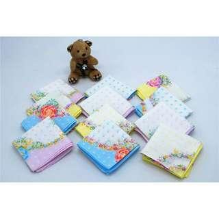 12 pcs polka flower assorted  handkerchief
