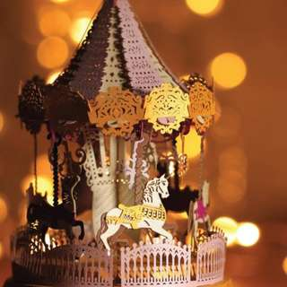 DIY miniature paper model with lights - Merry Go Round Pink Light Model Limited Edition