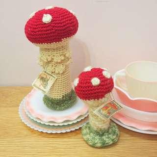 日本手作針織蘑菇擺設一對mushroom n2 natalie lete