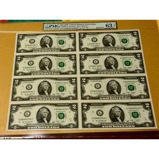 Lucky Number 8s: 88888280... PMG Graded US $2 Uncut sheet