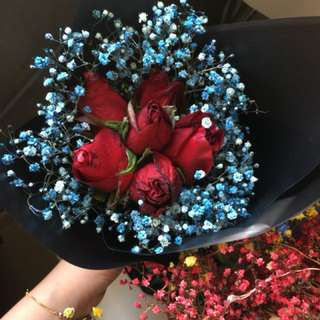Red Roses with blue baby breath