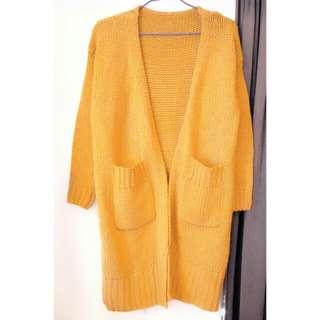 mooncat薑黃色寬鬆長版毛衣外套