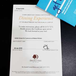 DoubleTree KL 2-Pax Buffet Dinner Voucher @ Makan Kitchen