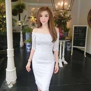 Iconette Closet Rosy White Dress Preloved