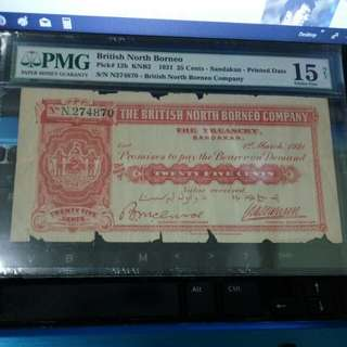Very Scarce British North Borneo 25 cents 1921 PMG 15 Choice Fine