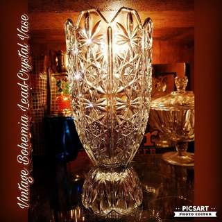 """1970s Bohemia 24%PbO High-Lustre Leadcrystal. Cut-crystal. Good Conditon. 5.5"""" dia, 10.5""""h. Big, Not small.  $48, sms 96337309."""