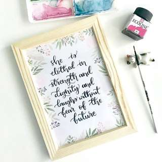 Clothed in strength watercolor calligraphy Card