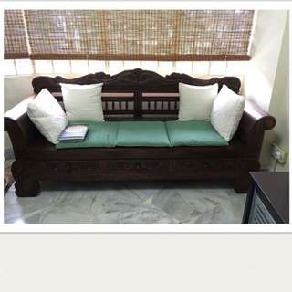 Handcrafted solid teak wood bench with drawers