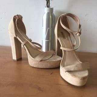 Nude sandal heels. Size 9