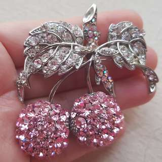 Pink Cherries High Quality Crystal Cubic Zirconia Brooch