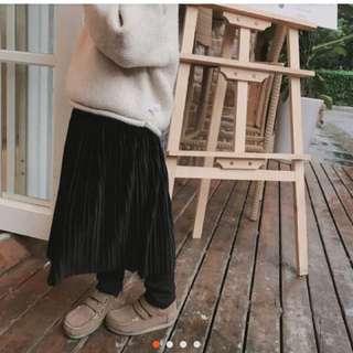 🚚 假2件絲絨百褶裙褲👍100cm