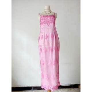 Dress pesta pink dgn furing LD86, pjg120, waist80, hip100
