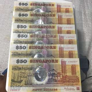 Pole Singapore Polymer 50 Dollar Note
