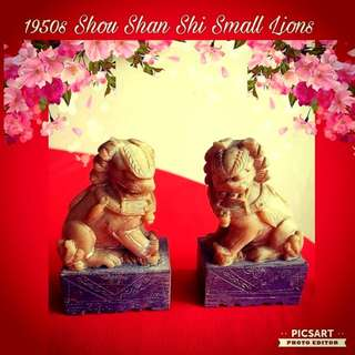 """1950s """"Shou Shan Shi"""" Mineral stone Stone Lion Carvings. 2.5"""" x 1.5"""" x 4""""h, small size but for such stone it is consider big. Good Condition. Both for $138, sms 96337309."""