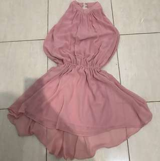 Pink halter hi low dress