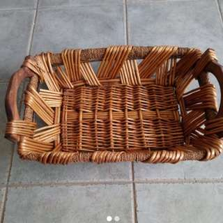 Preloved rattan basket / tray with handles and metal frame