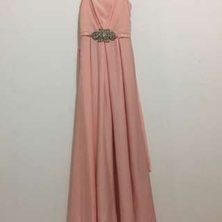 Dress Pesta / Gaun Pesta Baby Pink + Selendang