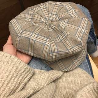 正韓 格紋報童帽