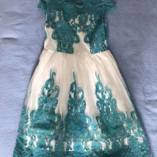 Teal and white lace cocktail dress