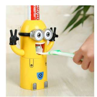 Two Eyes Minion Kids Toothbrush Holder and Toothpaste Dispenser