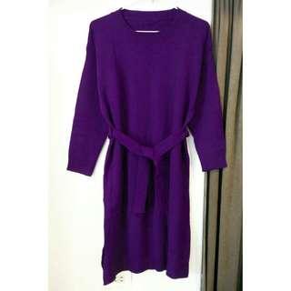 深紫色寬鬆綁帶針織洋裝